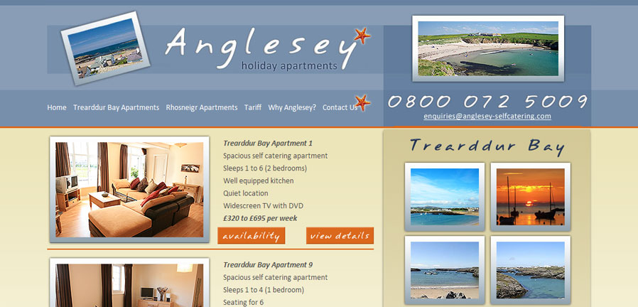 Anglesey Self-Catering apartments page