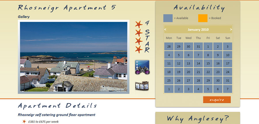 Anglesey Self-Catering apartment page