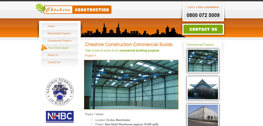 Cheshire Construction commercial construction page