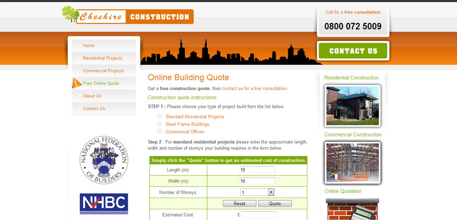 Cheshire Construction building quote page