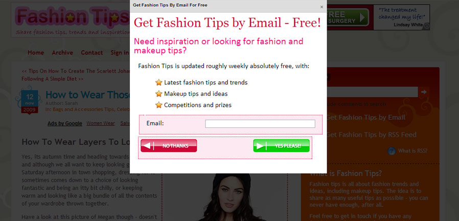 Fashion Tips automated subscriber popup