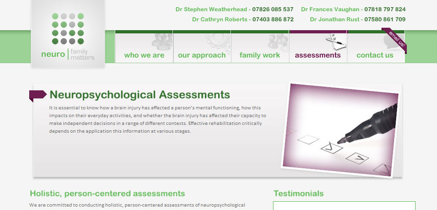 The Assessments page