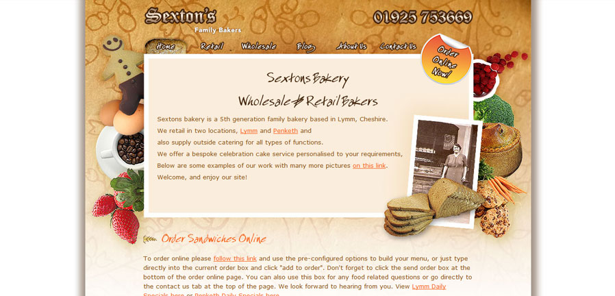 Sextons Bakery Homepage
