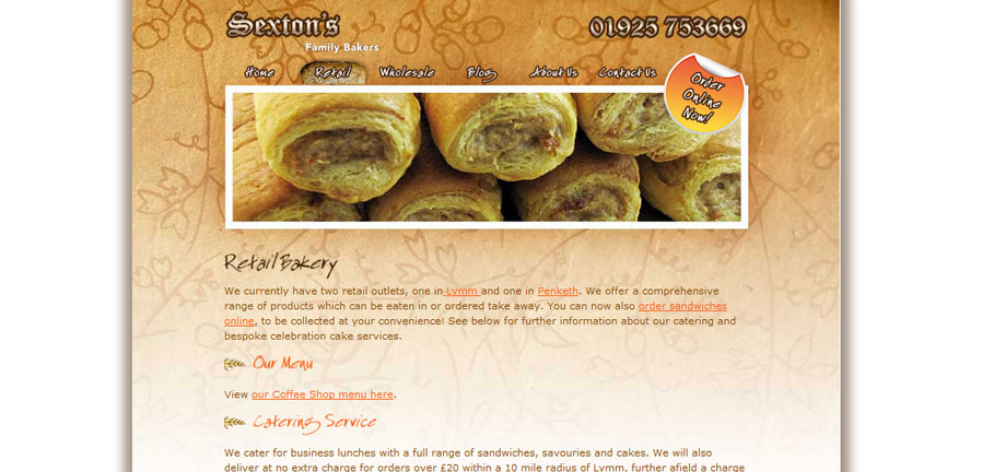Sextons Bakery retail bakery page