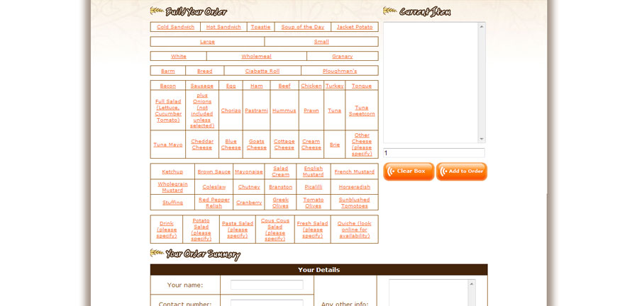 Sextons Bakery online ordering application