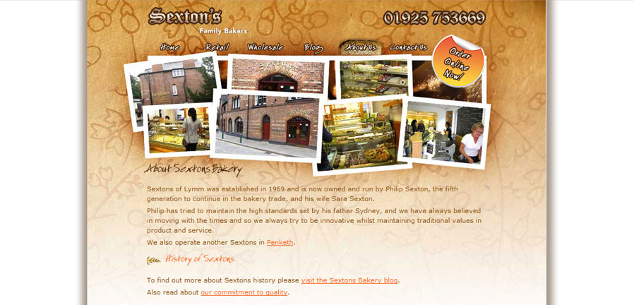 Sextons Bakery About Us page
