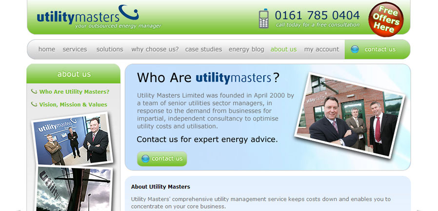 Utility Masters About Us page
