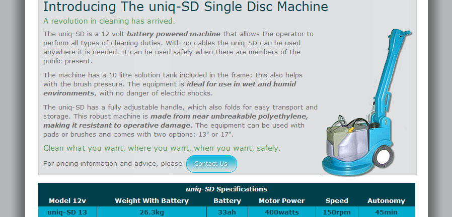 Uniq Cleaning Equipment uniq-SD product page